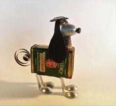 Arts And Crafts Clipart Refferal: 3507065992 Tin Can Animals, Junkyard Dog, Robot Animal, Android Art, Robot Art, Diy Robot, Art In The Park, Spice Tins, Tin Art
