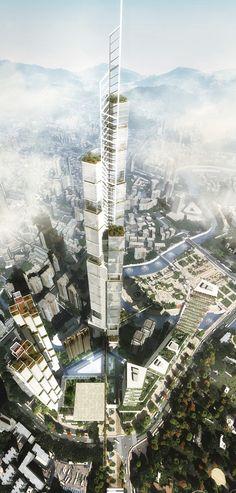 Guizhou Culture Plaza Riverfront, Guiyang, China by Kohn Pedersen Fox Associates (KPF )Architects :: height 540m, proposal