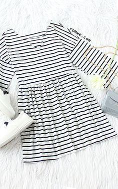 White Striped Drop Shoulder Cut Out Dress