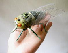 Fabric sculpture Cicada textile art by irohandbags on Etsy 100.00