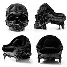 Black Angular Skull Armchair by Harold Sangouard