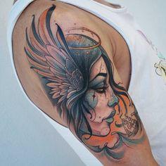 Amazing work done by Berinkey Indian Women Tattoo, Tattoos For Women, Tattoos 3d, Body Art Tattoos, Valkyrie Tattoo, Aquarius Tattoo, Mermaid Tattoos, Neo Traditional Tattoo, Custom Tattoo