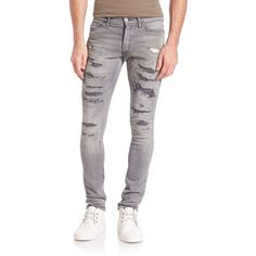 John Elliott The Cast 2 Distressed Slim-Fit Jeans ($520) ❤ liked on Polyvore featuring men's fashion, men's clothing, men's jeans, apparel & accessories, destroyed, mens torn jeans, mens ripped jeans, mens button fly jeans, mens faded jeans and mens destroyed jeans