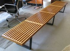 George Nelson Bench http://www.metrofurniture.co.uk/tables/modern-coffee-tables/george-nelson-inspired-bench-medium.html