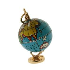 Vintage Explorer 14k Gold Base & Top, Tin Litho Globe Charm