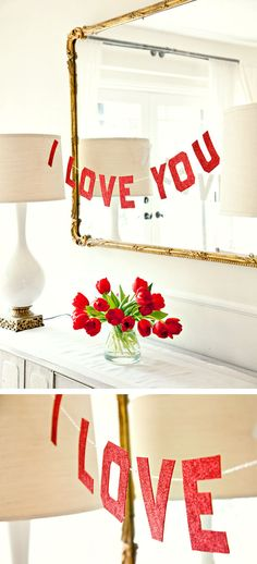 I love you garland using glittery felt or foam paper #valentines