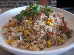 Com Chien: Fried rice with shanghai sausage, chicken, pork and shrimp.