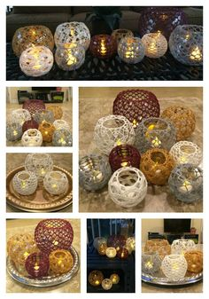 """""""Im always on the lookout for ways to make quick, but thoughtful and beautiful, handmade gifts. Inspired by the bubble shape of these glass vases, I created beautiful lace crochet covers and crocheted them right onto the vases! Crochet Christmas Gifts, Crochet Gifts, Free Crochet, Crochet Wedding Gifts, Crochet Rugs, Lotus Candle Holder, Diy Candle Holders, Crochet Decoration, Crochet Home Decor"""
