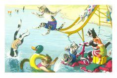 Cats Sliding into Swimming Pool Premium Poster