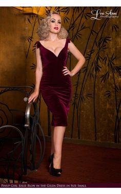 Laura Byrnes California- The Laura Byrnes Gilda Dress in Deep Wine Velvet | Pinup Girl Clothing