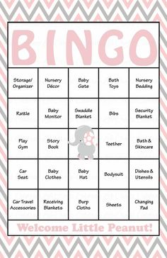 Elephant Baby Bingo Cards - Prefilled - Baby Shower Game for Girl - Pink & Gray - https://www.celebratelifecrafts.com/products/baby-shower-bingo-game-elephant-instant-download-pink-gray-b3001?utm_campaign=coschedule&utm_source=pinterest&utm_medium=Celebrate%20Life%20Crafts