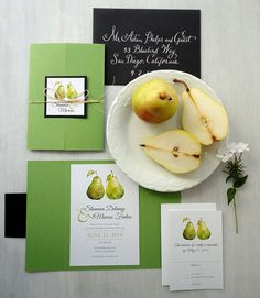 Perfect Pear Wedding Invitation Set by NooneyArt on Etsy - #springforpears and #usapears