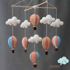 Vintage peach and blue baby mobile peach and by LovelySymphony