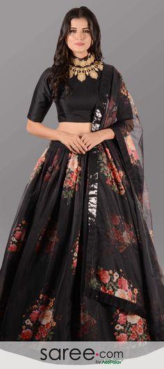 Black Organza Flared Lehenga Choli with Contrast Floral Digital Print Motifs Party Wear Indian Dresses, Designer Party Wear Dresses, Indian Gowns Dresses, Indian Bridal Outfits, Indian Fashion Dresses, Dress Indian Style, Indian Designer Outfits, Party Wear Lehenga, Black Indian Gown