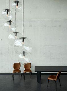 Moderne Pendelleuchte aus mundgeblasenem Glas SELENE by Sandra Lindner CLASSICON