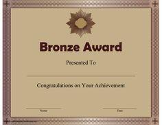 Printable Bronze Award certificate.