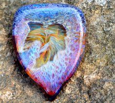 Exquisite Guitar Pick Dabbed Amber Purple - Handmade Glass