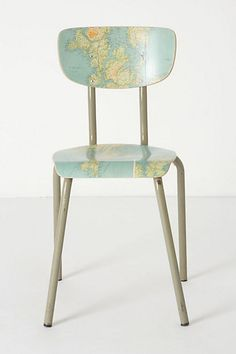 Geography Lesson Chair - Anthropologie.com.  I am sure that I can make this with a school chair and an atlas!