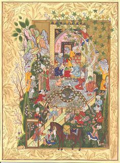 Persian Miniature Art Rare Haft Awrang of Jami Chain of Gold Poem Folk Painting. The theme of the picture set amid a colorful setting is the conversation between a father and his eager son, who asks for–and is given–a discourse on love.