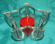 Votive Star Shaped Clear Very Heavy Glass Candle Holder-For Votive or Tealight