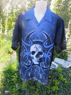 SAPPHIRE LOUNGE DRAGONFLY SHIRT BIOHAZARD XL Blue Skull Tribal NWT Kohls #SAPPHIRELOUNGEBYDragonfly #ButtonFront