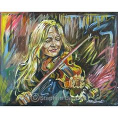 Mairead Ni Mhaonaigh - Limited edition print from a painting of Donegal fiddle player, Mairead Ni Mhaonaigh, by artist Stephen Bennett - limited to a run of 100 prints each signed and numbered by the artist. Irish Art, Donegal, Limited Edition Prints, Art Prints, Contemporary, Studio, Portrait, Gallery, Future House