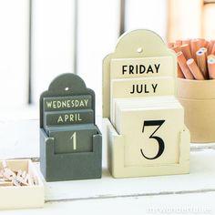 Fecha de bloque de calendario fdit Vintage De madera Calendario de escritorio tiempo concepto Rusti Regalo