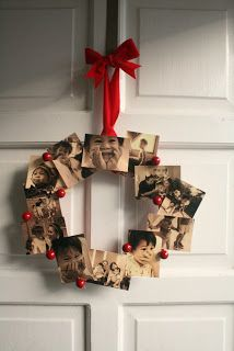 "easy photo wreath - photo's from the last year, moments you were ""thankful"" for - print in themed colour to enhance look of wreath"