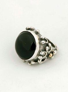 Onix silver ring with brass/bronze details.... www.sevgisjewelry.com
