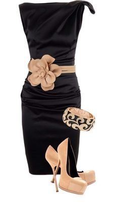 Black dress with taupe flower belt and taupe heels. Perfect for NYE. LOLO Moda: Gorgeous dresses for women - Fashion 2013 Mode Style, Style Me, Classy Style, Look Fashion, Womens Fashion, Fashion Trends, Dress Fashion, Fashion Clothes, Fashion Ideas