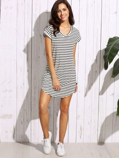 To find out about the Striped Curved Hem Tshirt Dress at SHEIN, part of our latest Dresses ready to shop online today! Women's Dresses, Dresses Online, Dresses For Sale, Dress Outfits, Casual Dresses, Summer Dresses, Shift Dresses, Casual Wear, Dress Clothes