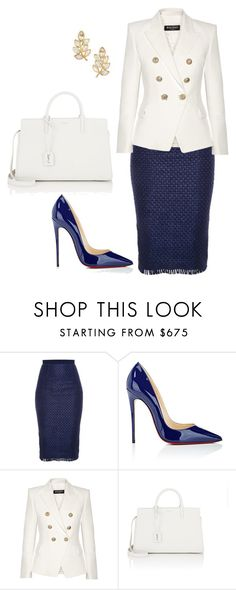 """""""style theory by Helia"""" by heliaamado on Polyvore featuring moda, Roland Mouret, Christian Louboutin, Balmain, Yves Saint Laurent e Kenneth Jay Lane"""