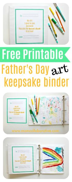 Father's Day Free Printable. DIY art keepsake binder father's day craft. Easy Father's Day homemade gifts for Dad.