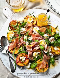The Food Union: prosciutto & nectarine salad Prosciutto, Tapas, Clean Eating, Healthy Eating, Cooking Recipes, Healthy Recipes, Nectarine Recipes Healthy, Summer Salads, Soup And Salad