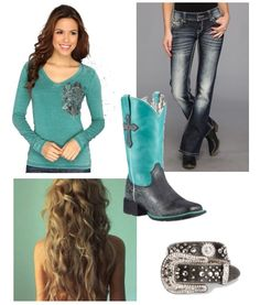I tried to make it all match:) Maybe Someday, Cowgirl Outfits, School Outfits, Outfit Ideas, Turquoise, Fashion, Moda, Fashion Styles, School Clothing