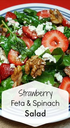 Strawberry Feta Spinach Salad Recipe Don't you just love strawberry season? - Strawberry Feta Spinach Salad Recipe Don't you just love strawberry season? Spinach Salad Recipes, Healthy Salad Recipes, Side Salad Recipes, Summer Salad Recipes, Spinach Feta Salad, Salad With Feta Cheese, Recipes With Feta Cheese, Spinach Meals, Healthy Strawberry Recipes