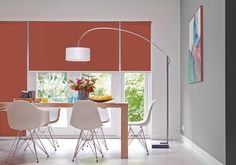 These orange roller blinds add a splash of colour to your room. Available with Dunelm Made to Measure. Roller Shades, Blinds For Windows, Curtains With Blinds, Window Blinds, Motorized Shades, Blackout Blinds, Black Curtains, Interior Windows