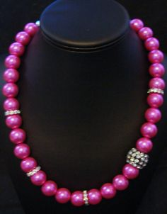 Hot Pink Pearl Bling Handmade Necklace - $25.00
