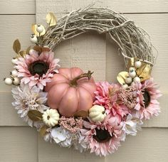 Fall wreathAutumn wreathPumpkin wreathPink pumpkin
