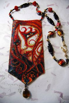 Beaded Red Lady Bag by PrairieBeadery on Etsy https://www.etsy.com/listing/106488898/beaded-red-lady-bag