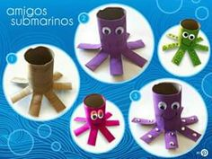 Pulpo de carton Spanish Teaching Resources, Vbs 2016, Spring Crafts For Kids, Hands On Activities, Summer School, Under The Sea, Montessori, Preschool, Projects To Try