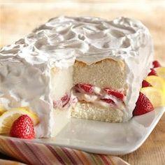 Strawberry Lemon Angel Food Cake