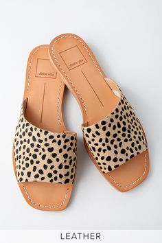 Kick-up your feet in style with the Dolce Vita Cato Leopard Pony Fur Slide Sandals! Go-to genuine calf hair slides have a chic, angular design.