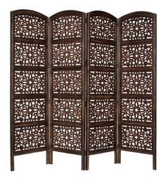 Rajasthan - Antique Brown - 4-Panel Handcrafted Wooden Room Divider Screen - Size: 72 inches tall by 80 inches wide - Intricate detail with carving on both sides of the screen making it fully reversible, highly versatile - It hides clutter, adds décor, and divides the room - Now with Reinforced Packaging Cotton Craft http://smile.amazon.com/dp/B007KIWUIK/ref=cm_sw_r_pi_dp_my4Gub0Y6XQ3J