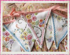 Vintage embroidered bunting ~ Perfect for your shabby chic cottage, love the old embroidery and ricrac together.