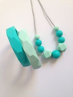 Teething Accessory Bundle - necklace and bracelet gift set - Turquoise and Mint colored Silicone Teething necklace and 2 silicone bangles