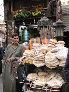 You can almost smell the bread! Bread vendor in Cairo, Egypt, 2011.