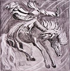 Rodeo.  Szén, papír. Rodeo, Techno, Art, Art Background, Kunst, Performing Arts, Techno Music, Bull Riding, Rodeo Life