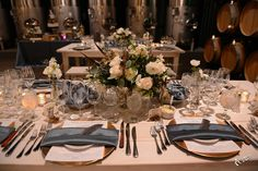 January Tasting Dinner. Flowers by Soiree Event Design.  http://www.wienscellars.com/temecula-wedding/
