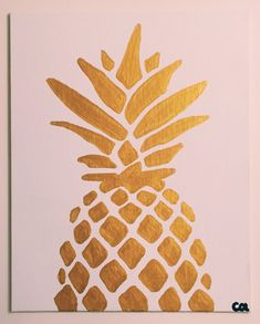 Easy paintings on canvas gold metallic pineapple painting ready to ship acrylic on canvas simple pineapple Simple Canvas Paintings, Easy Canvas Painting, Diy Canvas Art, Easy Paintings, Diy Wall Art, Diy Painting, Diy Art, Cute Canvas, Canvas Painting Projects